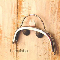 【HA-1580】ネコ型タイプ!持ち手付きの押し口金10cm/くし型(シルバー)