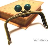 【HA-147】三枚口(二口口金)12cm/(紺色の木玉×アンティークゴールド)