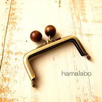10月19日販売開始!【HA-1895】7.5cm/角型口金(茶色の木玉×アンティークゴールド)