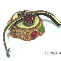 【HA-1281】<デコレーション口金>10cmくし型(アンティークゴールド)-レッドストーン付き