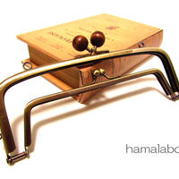 【HA-350】<廉価版>親子口金 19cm(茶色の木玉×アンティークゴールド)・カン付き