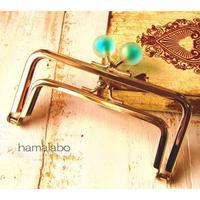 【HA-1664】親子口金12cm(スモーク玉グリーン×ゴールド)