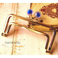 9月29日販売開始!【HA-1663】親子口金12cm(スモーク玉ブルー×ゴールド)
