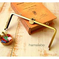 【HA-1785】オコシ式口金18cm/角型(丸型金具×アンティークゴールド)カン付き