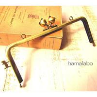 【HA-1671】ネコカン口金/(ネコ玉×横ネコカン)/18cm角型(アンティークゴールド)・カン付き