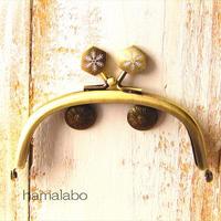 【HA-1470】10cmくし型の口金(六花-雪の結晶×アンティークゴールド)