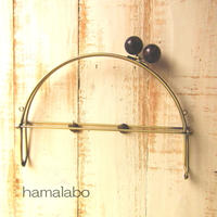 【HA-387】24cmベンリー口金/(大きな茶色の木玉×アンティークゴールド)・カン付き