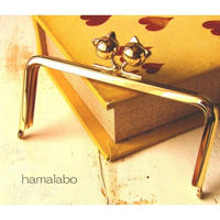 【HA-1640】12cm/角型(ネコ玉×ゴールド)
