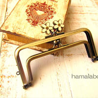 9月23日販売開始!【HA-1747】親子口金 12cm(メタルフラワー白×アンティークゴールド)