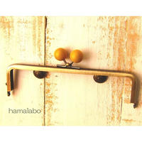 【HA-1508】16.5cm木玉/角型(からし色の木玉×アンティークゴールド)