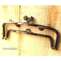 【HA-480】<廉価版>親子口金 19cm(肉球×ブラック)・カン付き