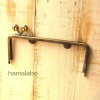 【HA-1110】<横ひねり>18cm/角型(肉球/アンティークゴールド)・カン付き