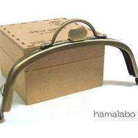 【HA-1525】持ち手付きの押し口金12.5cmくし型(アンティークゴールド)
