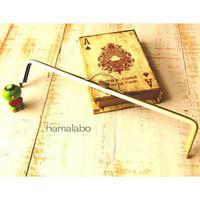 【HA-1621】持ち手付きの押し口金25.5cm/角型(アンティークゴールド)-扇子入れ用-