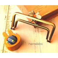 【HA-1688】親子口金12cm(ペアウサギ×アンティークゴールド)