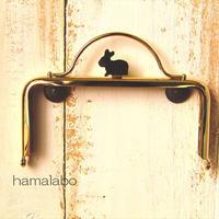 11月25日販売開始!【HA-1611】ウサギ型タイプ!持ち手付きの押し口金12cm/角型(ゴールド)