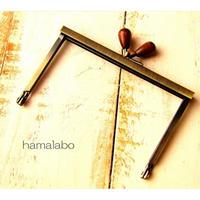 【HA-1500】12cm浮き足口金/茶色の木オーバル(アンティークゴールド)