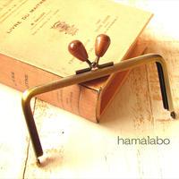 【HA-1767】12cm/角型(茶色の木オーバル×アンティーク)