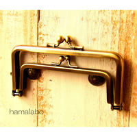 【HA-1372】親子口金12cm(竹の根ひねり×アンティークゴールド)
