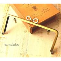 【HA-1675】リボン口金/18cm角型(アンティークゴールド)・兼用カン付き