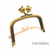 【HA-1460】9.9cm/くし型の口金(ネコ玉×アンティークゴールド)