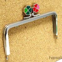 <廃盤予定>【HA-1427】幸せの四つ葉のクローバー口金(12cm角型グリーン×レッド)