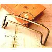 【HA-1645】ウサギ型タイプ!親子口金 19cm(押し口金×アンティークゴールド)・カン付き