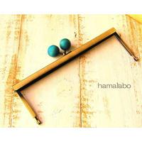 【HA-1537】19cm浮き足口金/ちょっと大きな紺色の木玉(アンティークゴールド)