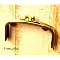 【HA-1370】三枚口(二口口金)12cm/(竹の根ひねり×アンティークゴールド)