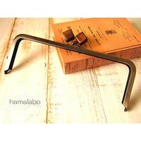 【HA-496】24cm角型口金(ちょっと大きな茶色の木キューブ×アンティークゴールド)+(プラス)