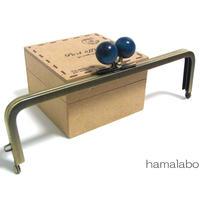 【HA-1399】16.5cm木玉/角型(紺色の木玉×アンティークゴールド)