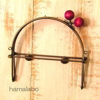 【HA-499】16cmベンリー口金/(ちょっと大きな紫色の木玉×アンティークゴールド)・カン付き