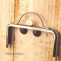 11月25日販売開始!【HA-1584】ネコ型タイプ!持ち手付きの押し口金12cm/角型(シルバー)