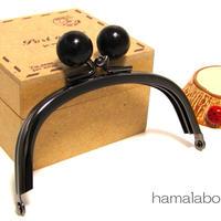 【HA-327】10cm/くし型(黒色の木玉×ブラック)