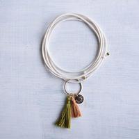 ダブルタッセルネックレス(グラス&キャメル) / Double Tassel Necklace  (Grass & Camel )