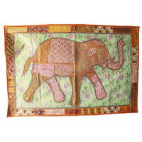 カンバディアウォールハンギング Elephant WH-20-002 (Orange x Yellow)