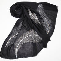 Plume Nova  (Feathers embroideries / Black × Silver)  ウール50%/シルク50% SS-18/76A