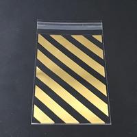 OPP袋G ストライプ ゴールド(テープ付き)1セット10枚入