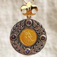 Michaelゴールドメダル&タンザナイト シルバー&18Kゴールドペンダントトップ FLAME(RMD1029)