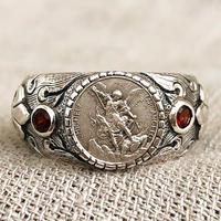 Michaelシルバーメダル&ガーネット シルバーリング FLAME(RMD1024)