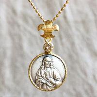 Jesus&Maryシルバーメダル&ダイヤモンド&ブルーサファイア シルバー&18Kゴールドペンダントトップ  2WAY(PMD1011)