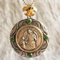 Raphaelシルバーメダル&エメラルド シルバー&18Kゴールドペンダントトップ  HEAL(PMD1008)