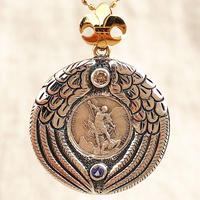 Michaelシルバーメダル&ダイヤモンド&タンザナイト シルバー&18Kゴールドペンダントトップ PROTECTION (S)(RMD1026)