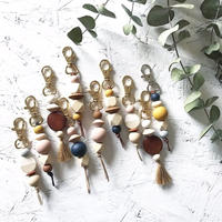 Wood beads Key ring  // RUNI