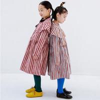 Double Collar Flannel Stripe Dress ( gray x brown) / folkmade