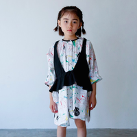 Folkloric Print Over Dress (white x red) / folkmade