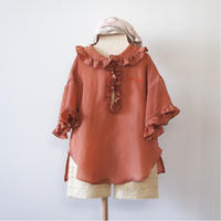 Taffeta Blouse ( brick red  / M,L ) / folkmade