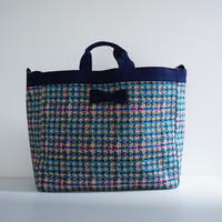 adjust strap tote summer tweed navy blue