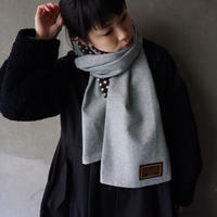 long scarf melton silver grey dots black