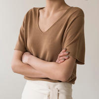 Wool knit short sleeves